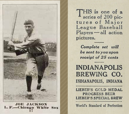 1916 Indianapolis Brewing Joe Jackson #87 Baseball Card