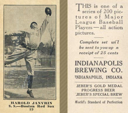 1916 Indianapolis Brewing Harold Janvrin #89 Baseball Card