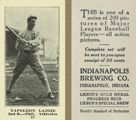 1916 Indianapolis Brewing Napoleon Lajoie #97 Baseball Card