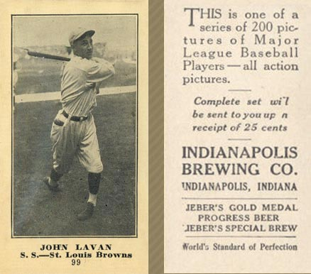 1916 Indianapolis Brewing John Lavan #99 Baseball Card