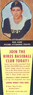 1958 Hires Root Beer (With Tabs) Ron Kline #31 Baseball Card