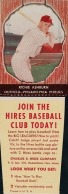 1958 Hires Root Beer (With Tabs) Richie Ashburn #10 Baseball Card