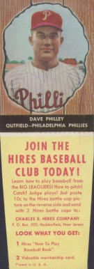 1958 Hires Root Beer (With Tabs) Dave Philley #12 Baseball Card