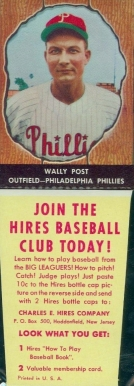 1958 Hires Root Beer (With Tabs) Wally Post #14 Baseball Card