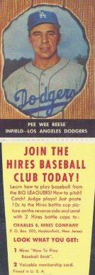 1958 Hires Root Beer (With Tabs) Pee Wee Reese #23 Baseball Card