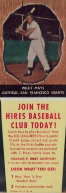 1958 Hires Root Beer (With Tabs) Willie Mays #25 Baseball Card