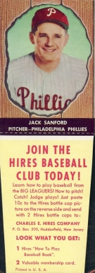1958 Hires Root Beer (With Tabs) Jack Sanford #39 Baseball Card
