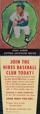 1958 Hires Root Beer (With Tabs) Hank Aaron #44 Baseball Card