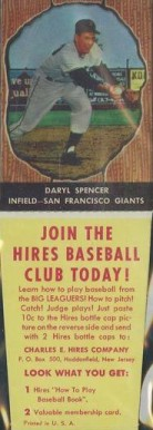 1958 Hires Root Beer Daryl Spencer #51 Baseball Card