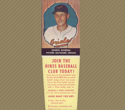1958 Hires Root Beer (With Tabs) George Zuverink #66 Baseball Card