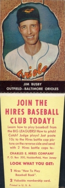 1958 Hires Root Beer (With Tabs) Jim Busby #68 Baseball Card