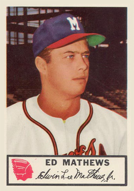 1953 Johnston Cookies Braves Eddie Mathews #21 Baseball Card