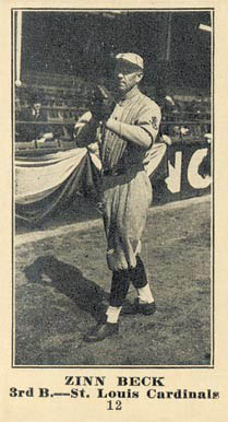 1916 Sporting News Zinn Beck #12 Baseball Card