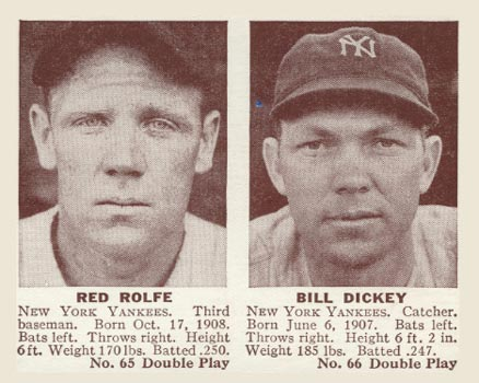 1941 Double Play Red Rolfe #65/66 Baseball Card