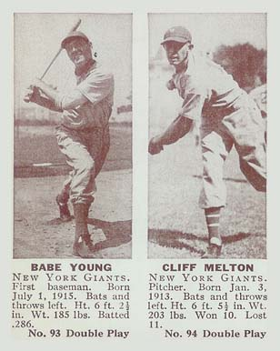1941 Double Play Babe Young #93/94 Baseball Card