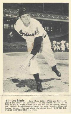 1952 Num Num Cleveland Indians With Tab Lou Brissie 1
