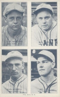 1936 Exhibits Four-on-one Hubbell/Mancuso/Ott/Terry #16 Baseball Card