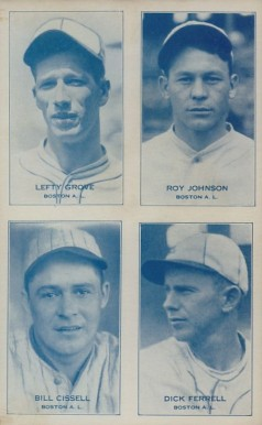 1934 Exhibits Four-on-one Cissell/Ferrell/Grove/Johnson #7 Baseball Card
