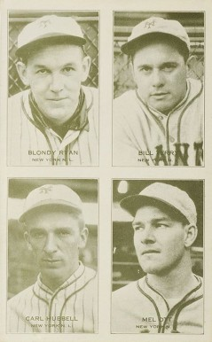1934 Exhibits Four-on-one Hubbell/Ott/Ryan/Terry #14 Baseball Card