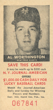 1954 N.Y. Journal-American Al Worthington #59 Baseball Card