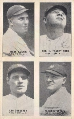 1929 Exhibits Four-on-one Durocher/Gehrig/Koenig/Ruth #21 Baseball Card