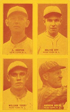 1929 Exhibits Four-on-one Benton/Ott/Reese/Terry #10 Baseball Card