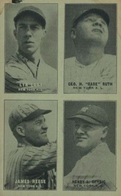 1931 Exhibits Four-on-one (31-32) Gehrig/Lary/Reese/Ruth #27 Baseball Card
