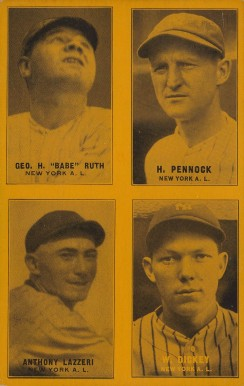 1933 Exhibits Four-on-one Dickey/Lazzeri/Pennock/Ruth #9 Baseball Card