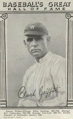 1948 Hall Of Fame Exhibits Clark Griffith 13 Baseball Vcp