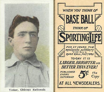 1911 Sporting Life Tinker, Chicago Nationals #299 Baseball Card