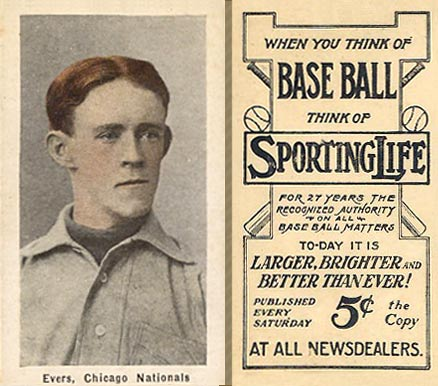 1911 Sporting Life Evers, Chicago Nationals #102 Baseball Card