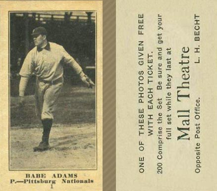 1916 Mall Theatre Babe Adams #1 Baseball Card