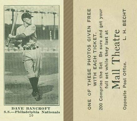 1916 Mall Theatre Dave Bancroft #10 Baseball Card