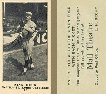 1916 Mall Theatre Zinn Beck #12 Baseball Card