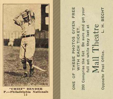 1916 Mall Theatre Chief Bender #13 Baseball Card