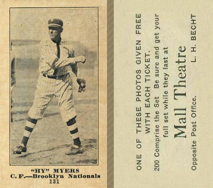 1916 Mall Theatre Hy Myers #131 Baseball Card