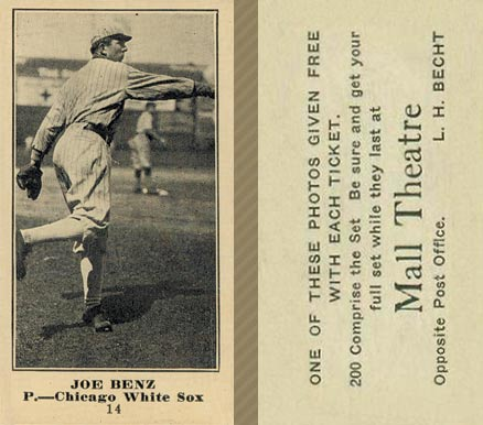 1916 Mall Theatre Joe Benz #14 Baseball Card