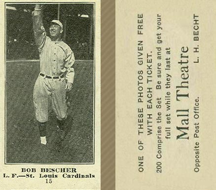 1916 Mall Theatre Bob Bescher #15 Baseball Card