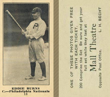 1916 Mall Theatre Eddie Burns #18 Baseball Card