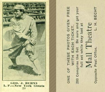 1916 Mall Theatre George J. Burns #20 Baseball Card
