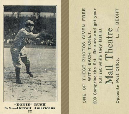 1916 Mall Theatre Donie Bush #22 Baseball Card