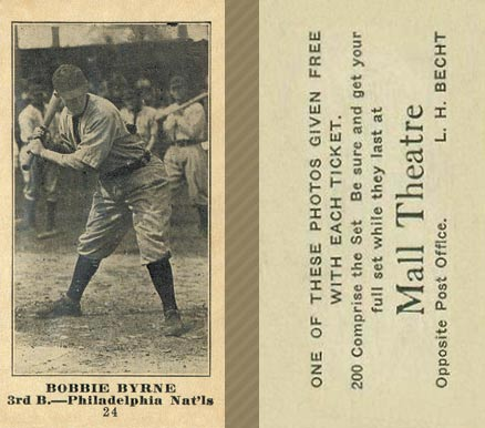 1916 Mall Theatre Bobby Byrne #24 Baseball Card