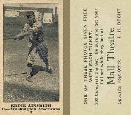 1916 Mall Theatre Eddie Ainsmith #3 Baseball Card