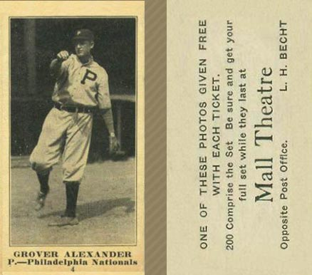 1916 Mall Theatre Grover Alexander #4 Baseball Card