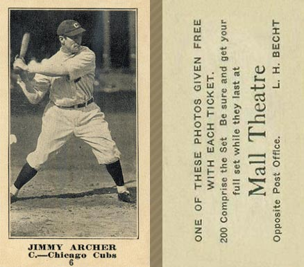 1916 Mall Theatre Jimmy Archer #6 Baseball Card