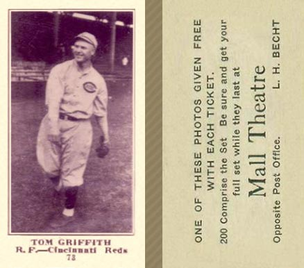 1916 Mall Theatre Tom Griffith #73 Baseball Card