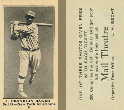 1916 Mall Theatre Frank Baker #9 Baseball Card