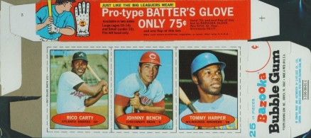 1971 Bazooka Unnumbered Complete Box Carty/Bench/Harper #3 Baseball Card