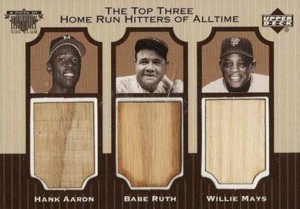 1999 Upper Deck A Piece of History 500 Club The Top 3 Home Run Hitters of All-Time # Baseball Card