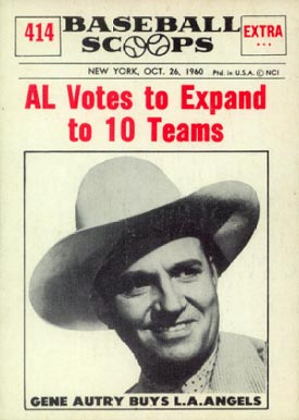 1961 Nu-Card Baseball Scoops Gene Autry #414 Baseball Card